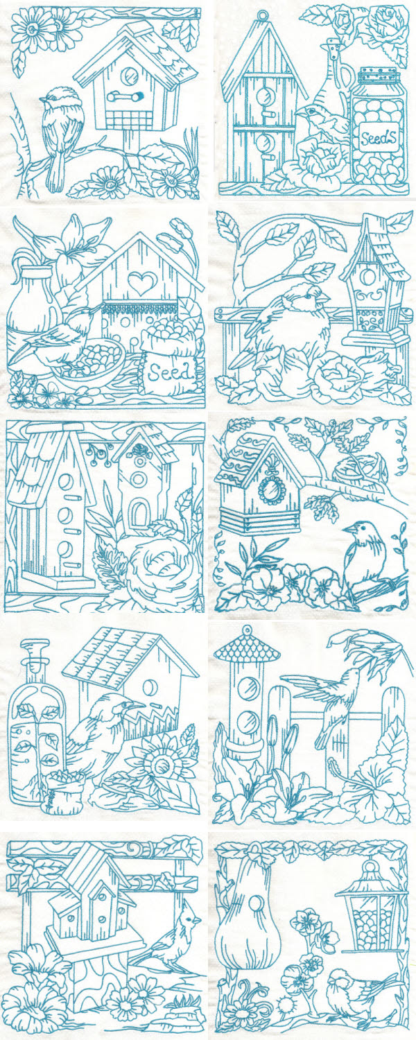Bluework Birds and Birdhouses Embroidery Machine Design Details