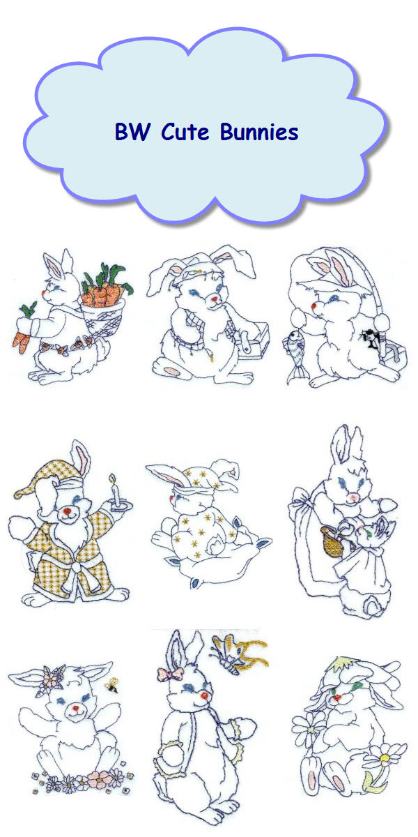BW Cute Bunnies Embroidery Machine Design Details