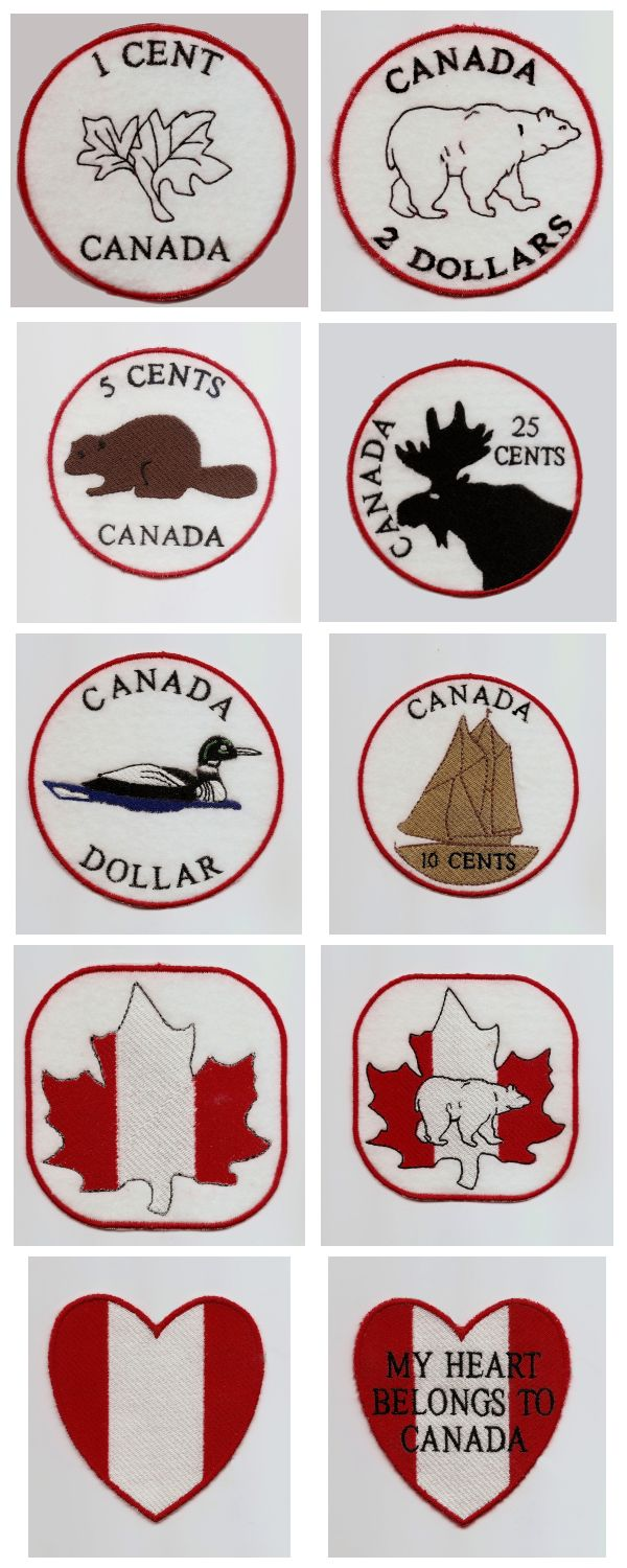 Machine Embroidery Designs  Canada Coasters And Patches Set