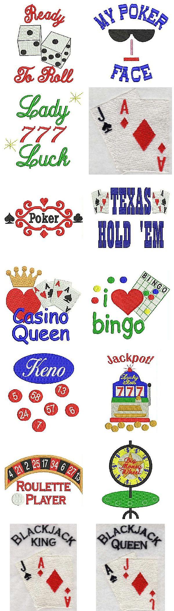 Casino Time Embroidery Machine Design Details