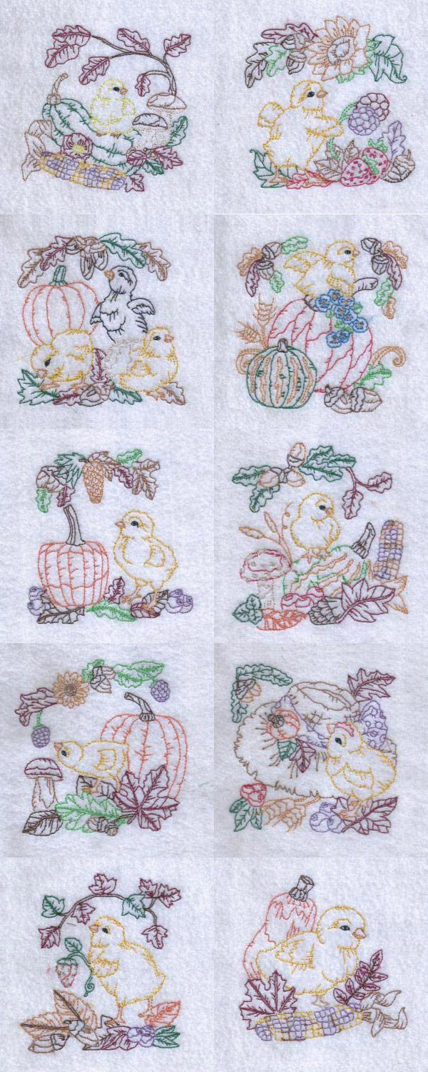 Chickie Fall Embroidery Machine Design Details