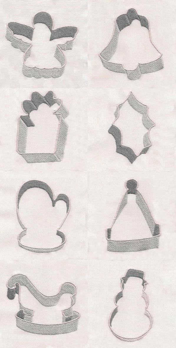 Christmas Cookie Cutters Embroidery Machine Design Details