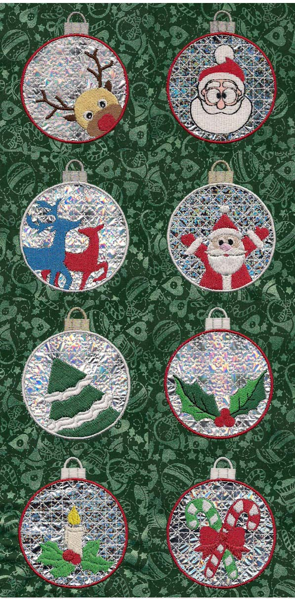 Christmas Mylar Ornaments Embroidery Machine Design Details