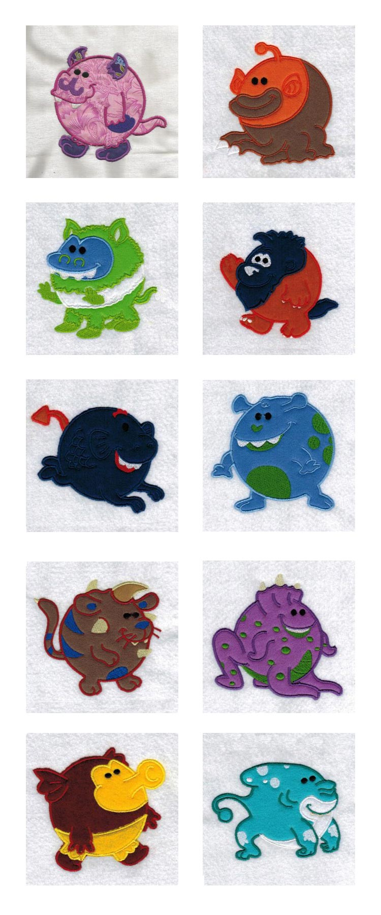 Chubby Applique Monsters Embroidery Machine Design Details
