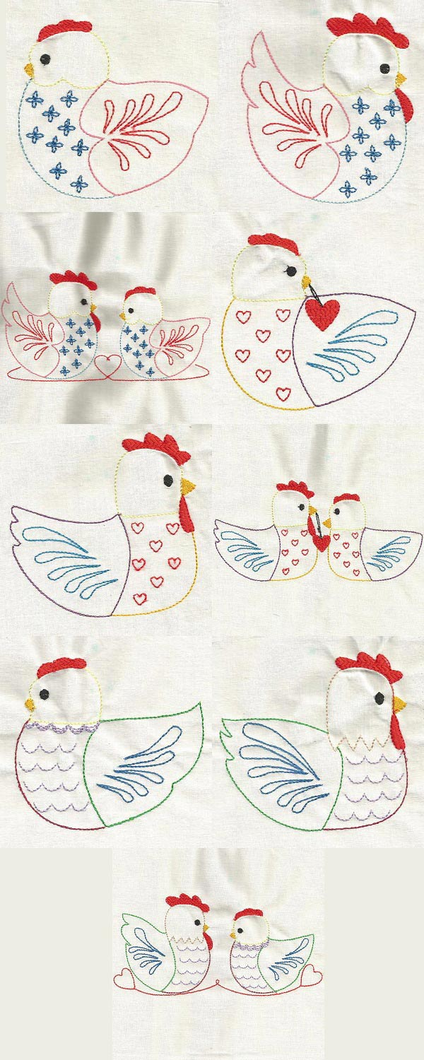 Colorline Folk Art Chickens Embroidery Machine Design Details