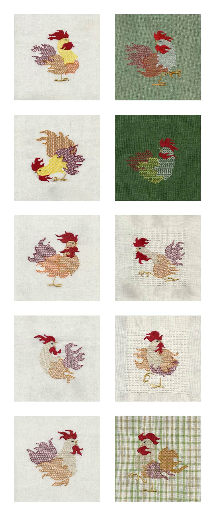 Colorful Roosters Embroidery Machine Design Details