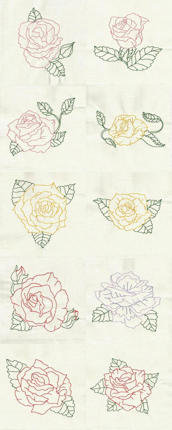 Colorline Roses Embroidery Machine Design Details