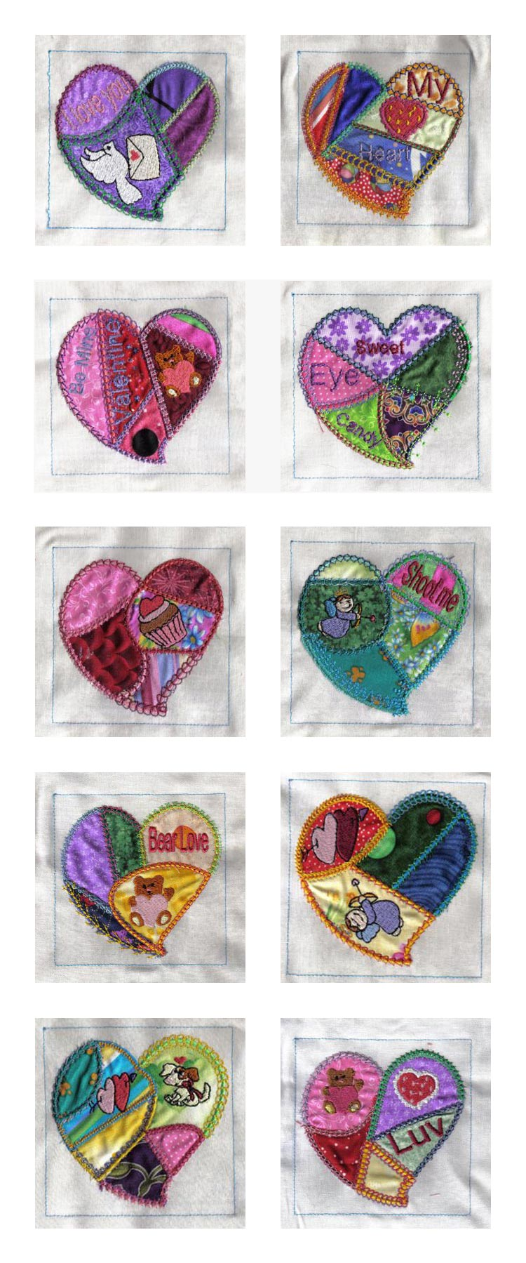 Crazy Quilt Applique Hearts Embroidery Machine Design Details Applique Quilt Patterns For Embroidery Machine