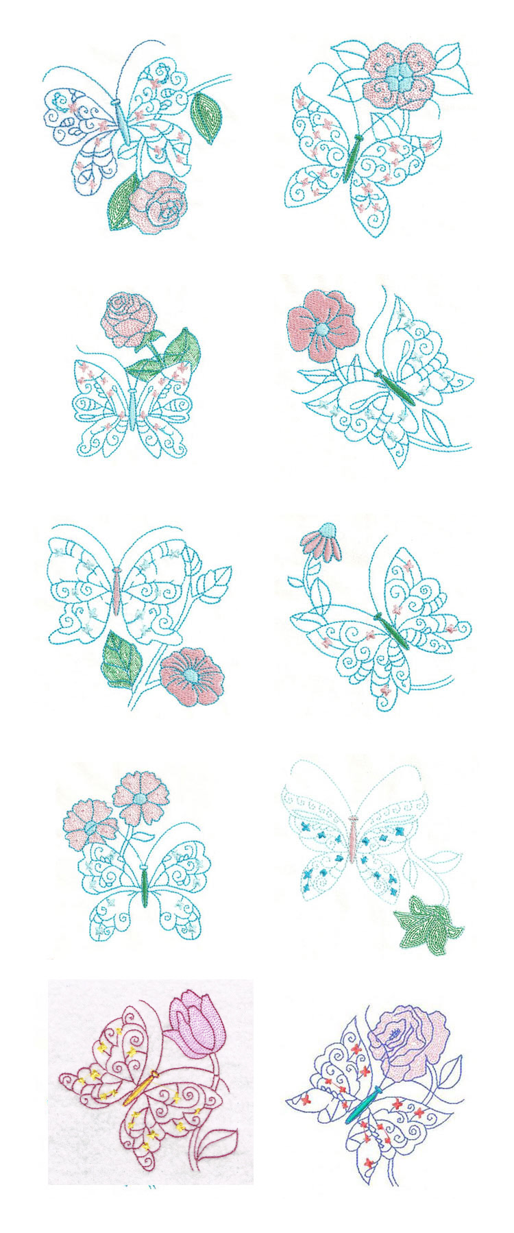 Colorwork Butterfly Flowers Embroidery Machine Design Details