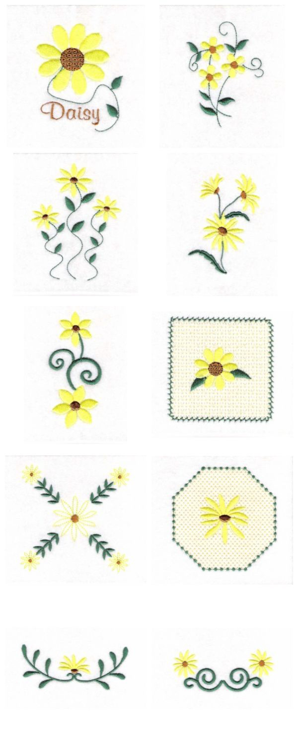 Daisies Embroidery Machine Design Details