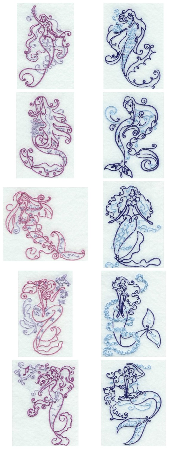 Machine embroidery designs art deco mermaids set