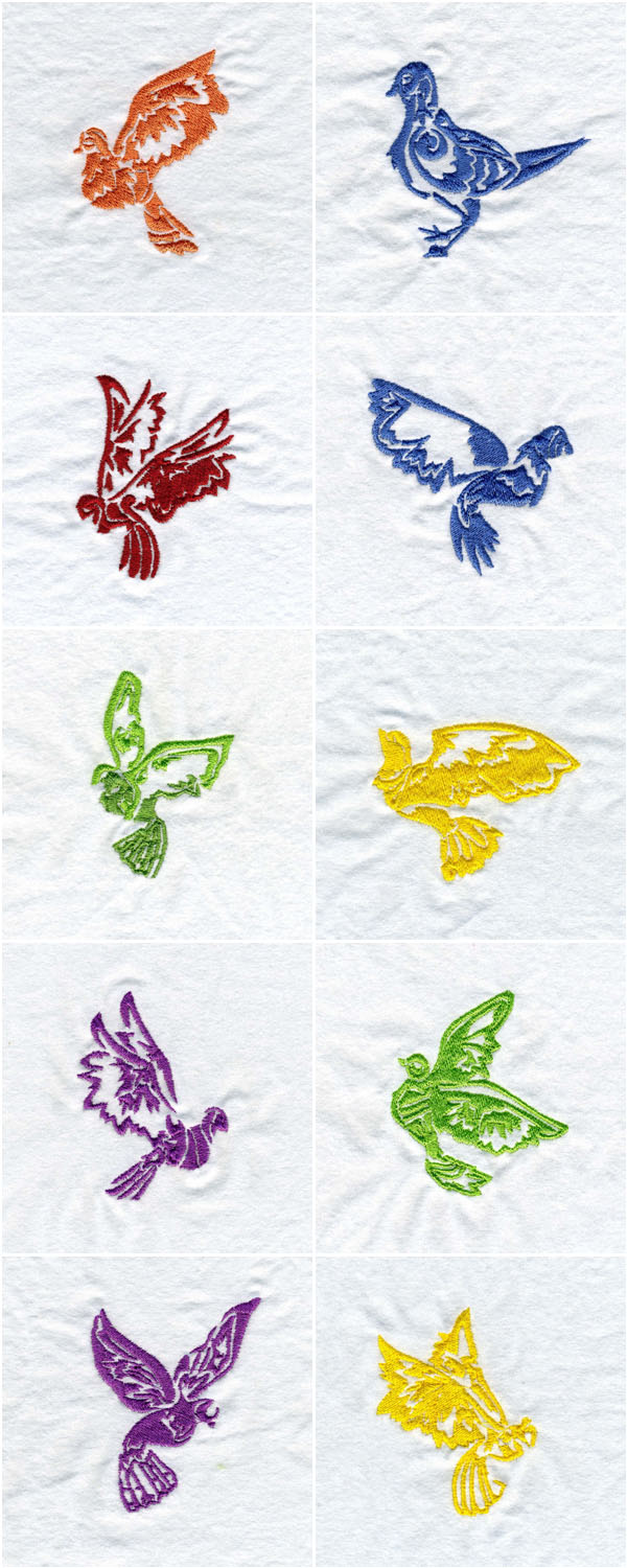 Decorative Doves Embroidery Machine Design Details