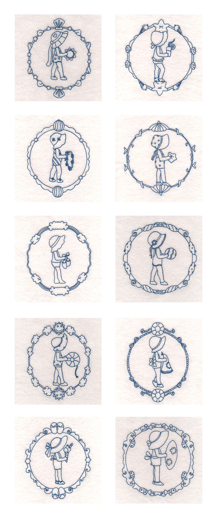 Decorative Summertime Sunbonnets Embroidery Machine Design Details