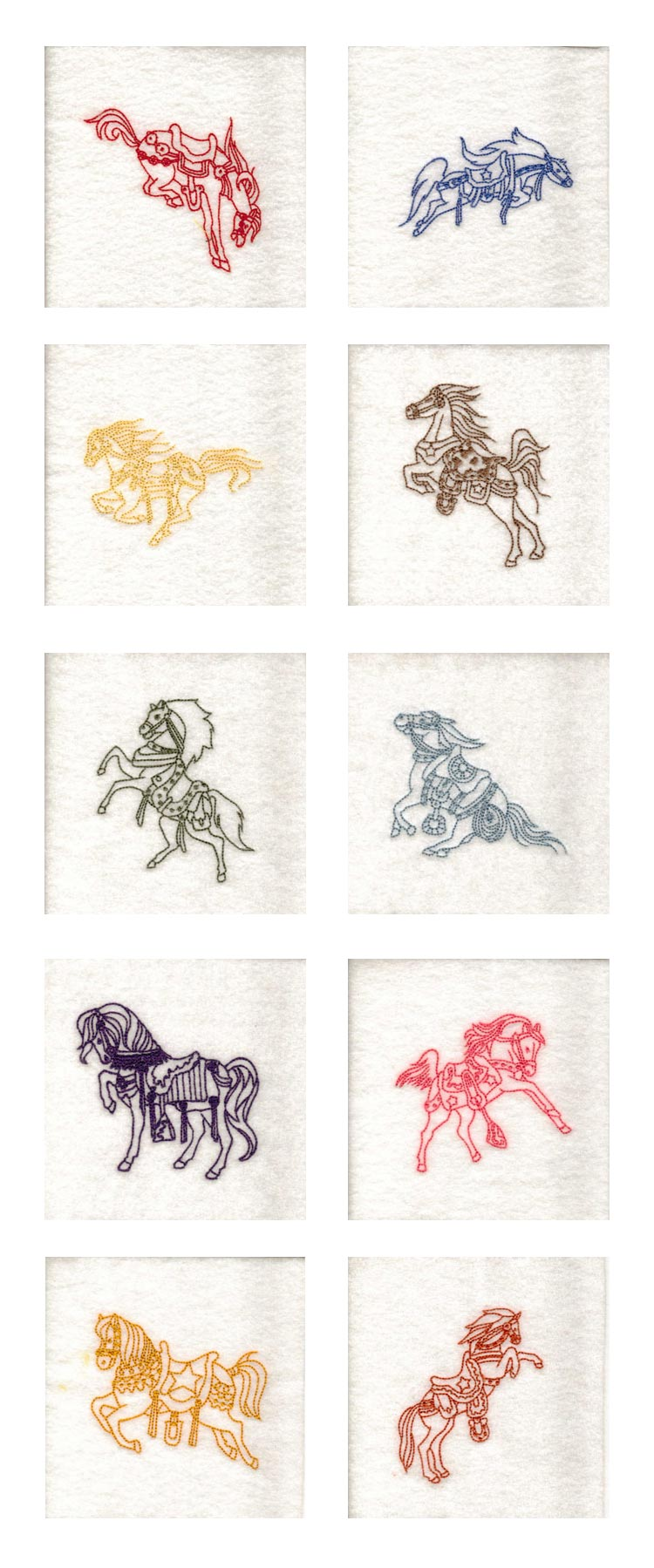 Decorative Redwork Cowboy Horses Embroidery Machine Design Details