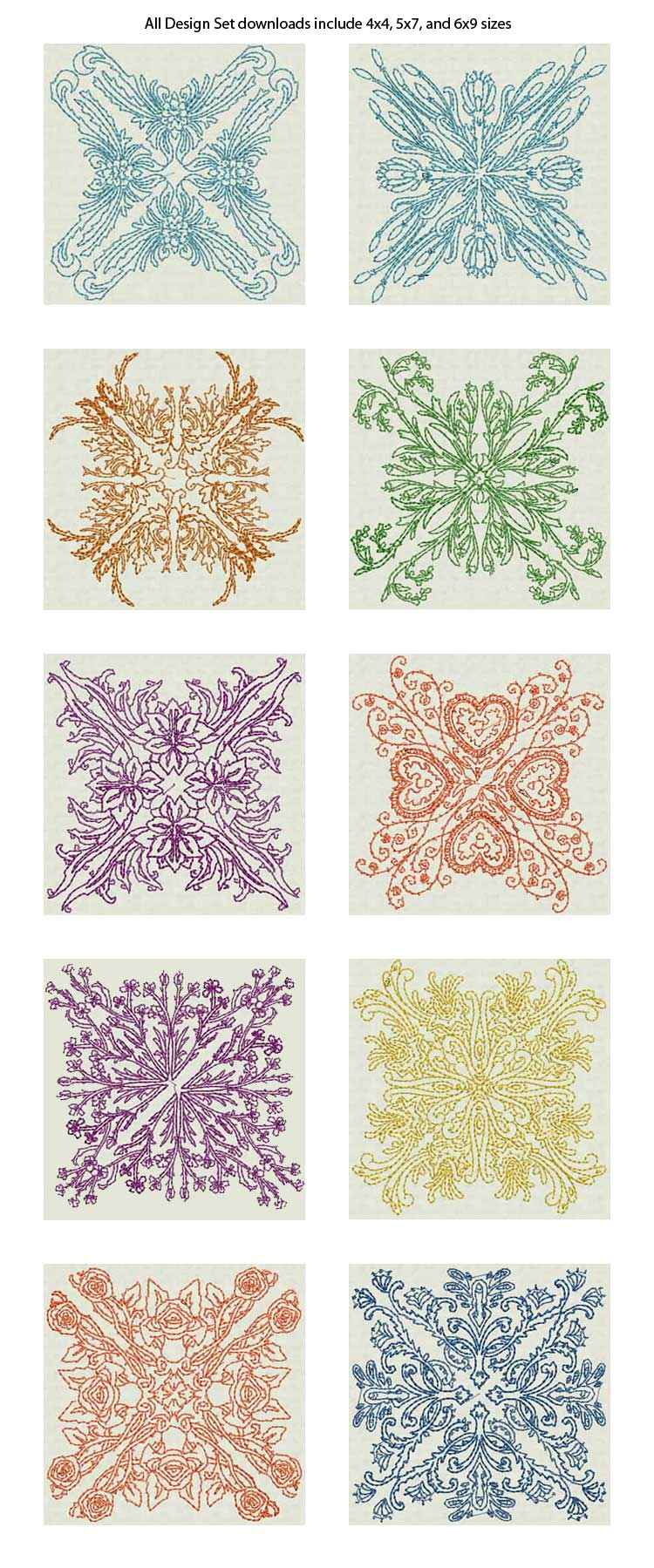 Embroidery Patterns For Quilt Squares : Delicate Quilt Blocks Machine Embroidery Designs eBay