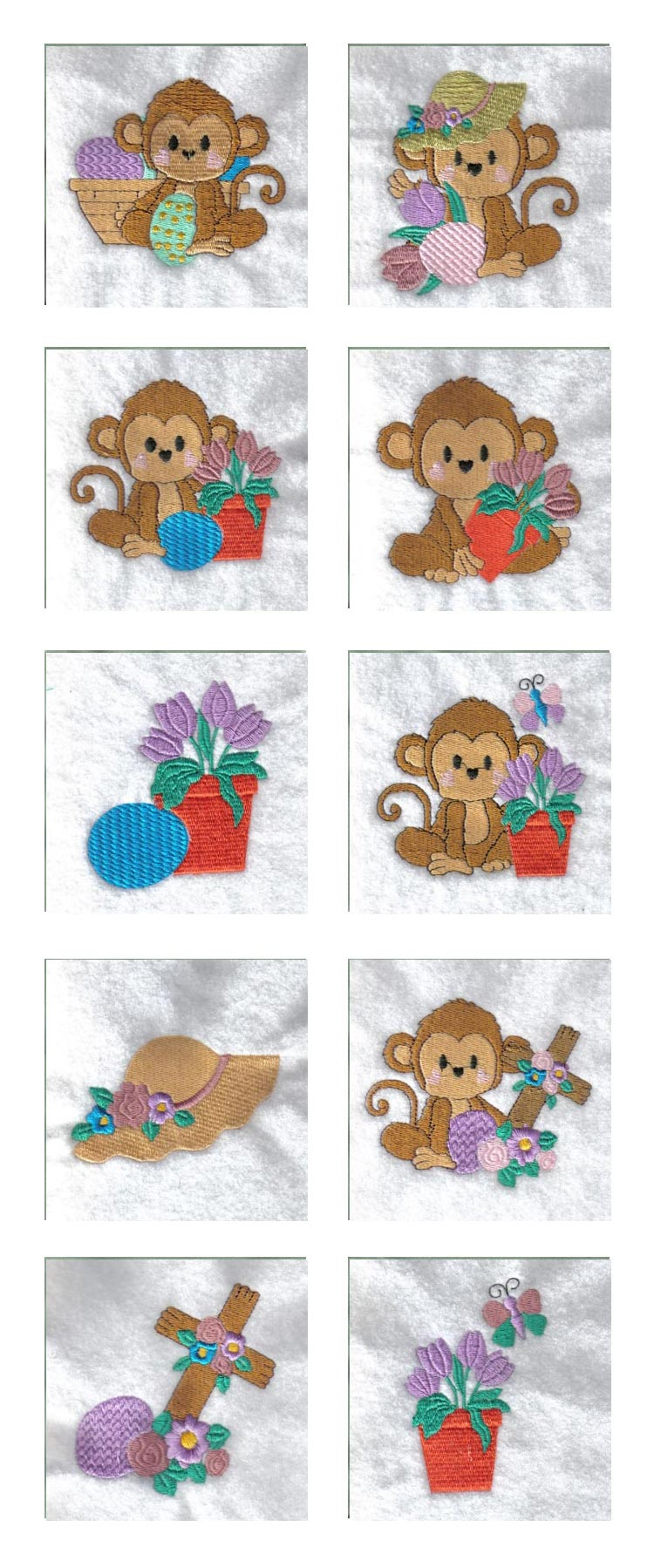 Easter Monkeys Embroidery Machine Design Details