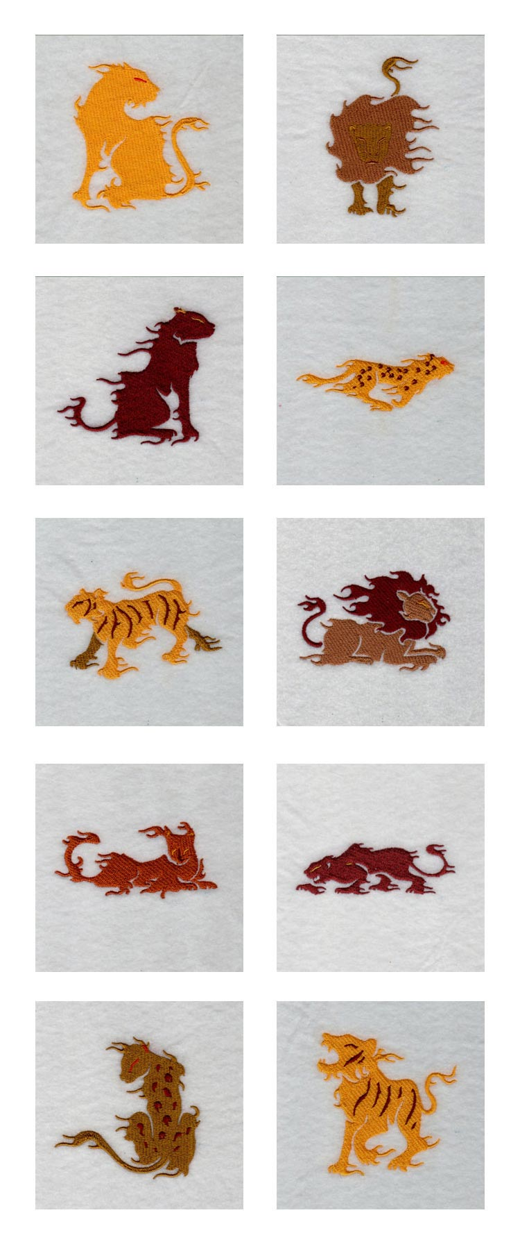 Flaming Cats Embroidery Machine Design Details