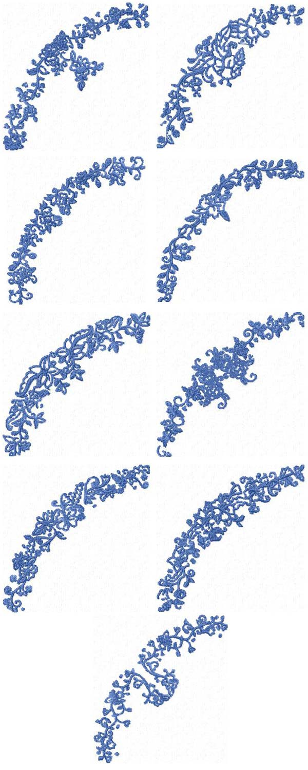 Floral Borders Embroidery Machine Design Details