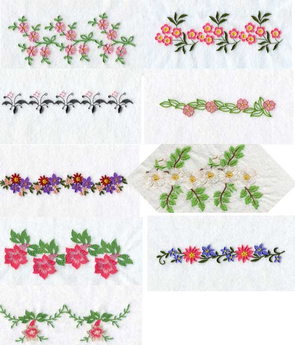 Floral endless borders machine embroidery designs