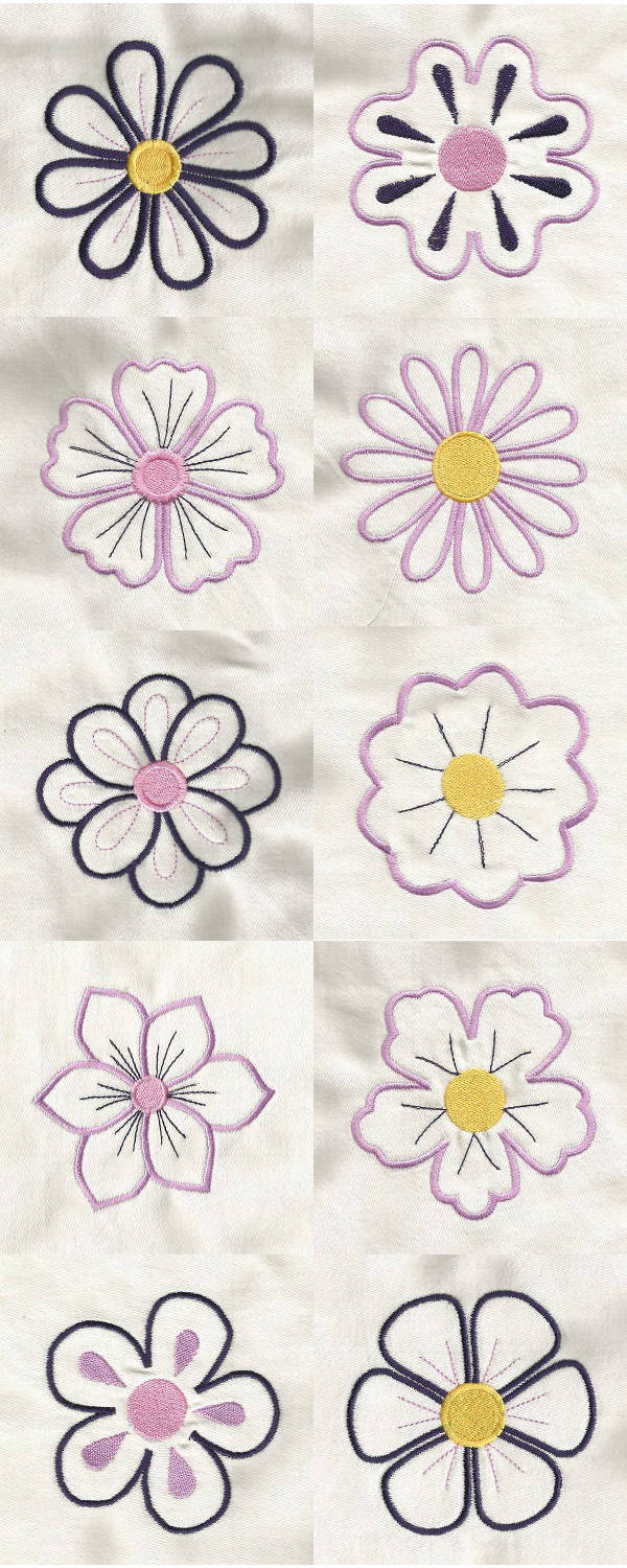 machine embroidery designs flower power outlines set. Black Bedroom Furniture Sets. Home Design Ideas