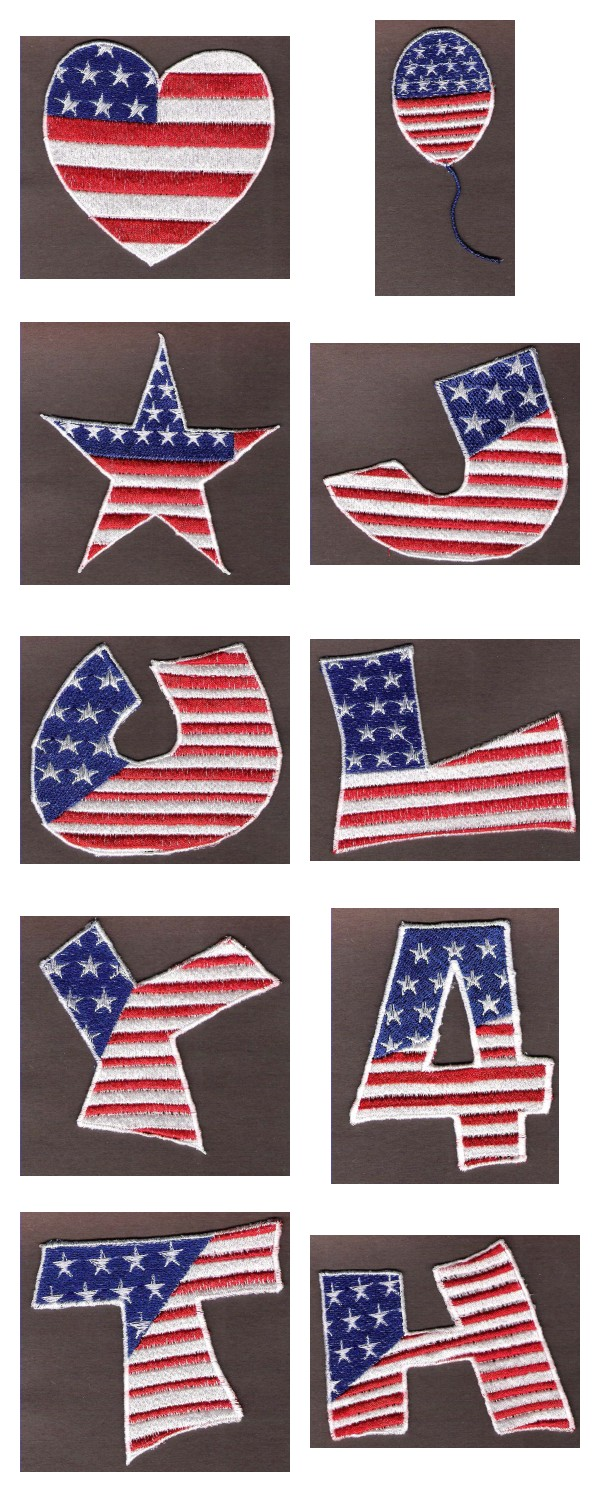 FSL Patriotic Embroidery Machine Design Details