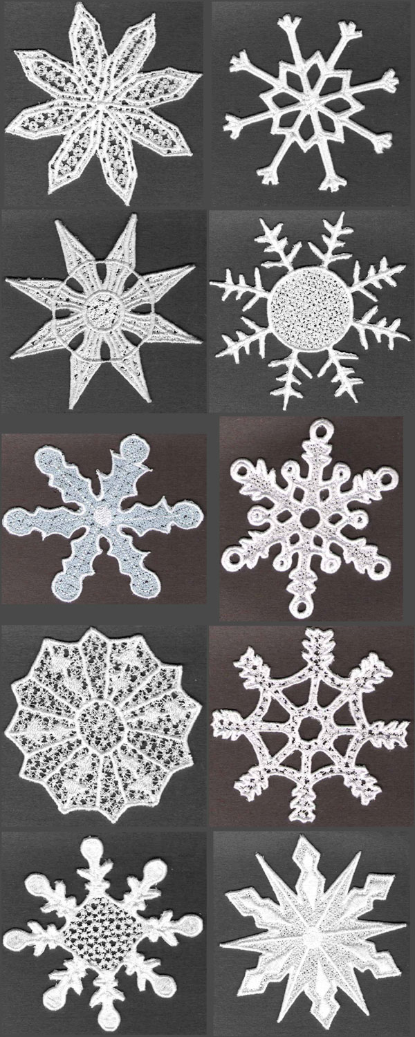 FSL Snowflakes Embroidery Machine Design Details