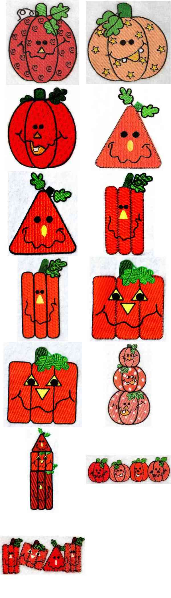 Funky Pumpkins Embroidery Machine Design Details