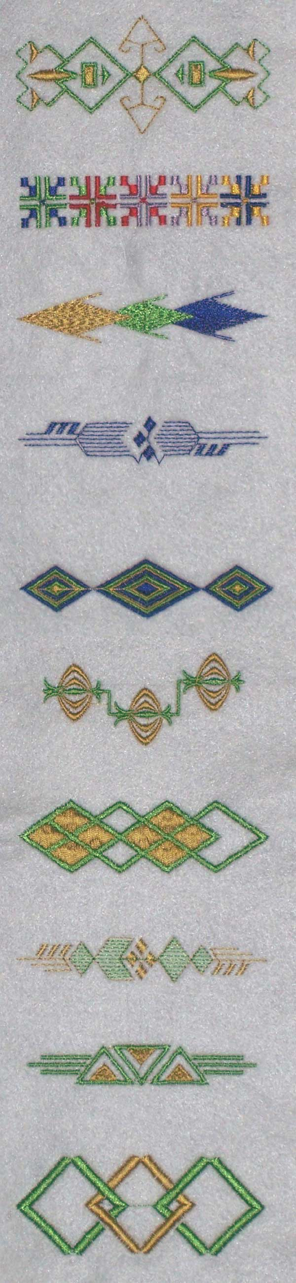 Machine embroidery designs geometric borders set