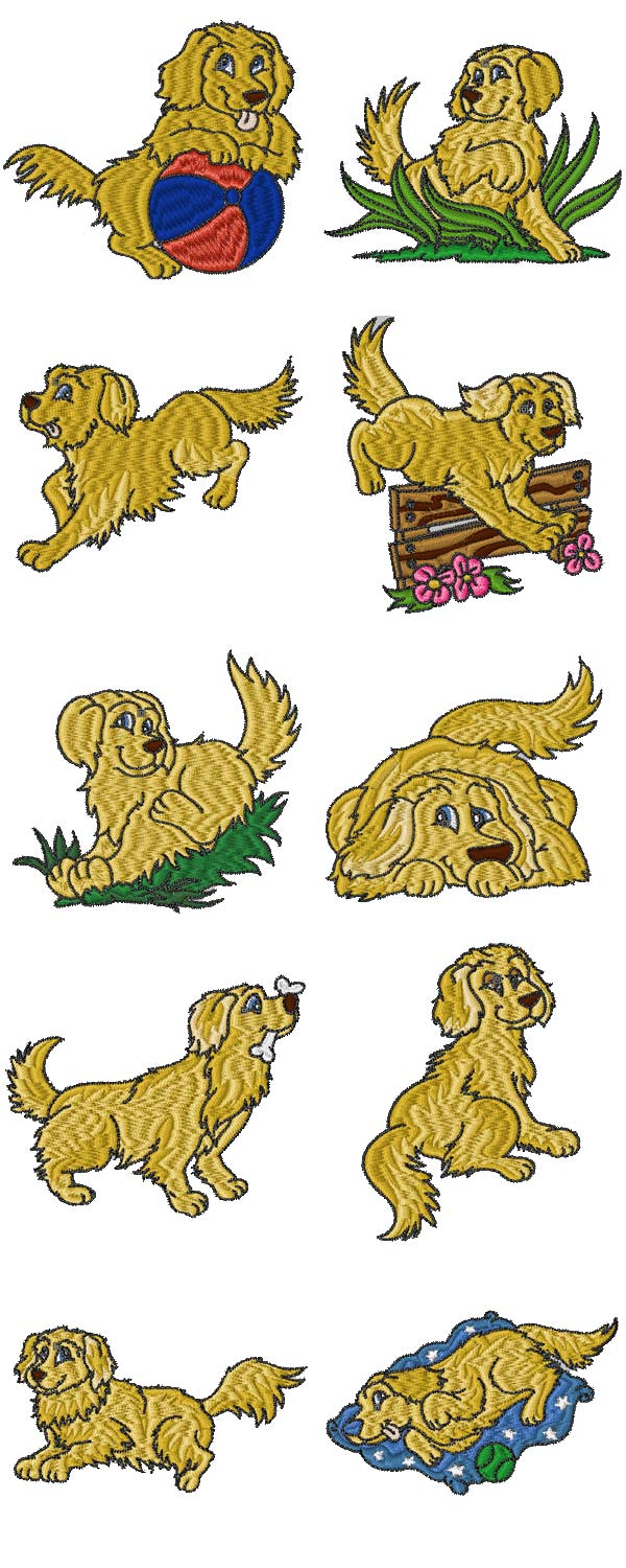 Golden Retrievers Embroidery Machine Design Details
