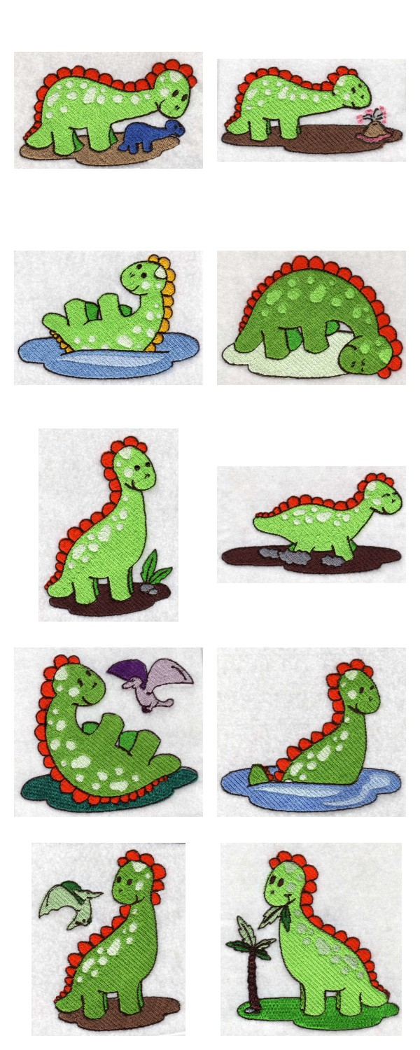 Green Dino Embroidery Machine Design Details