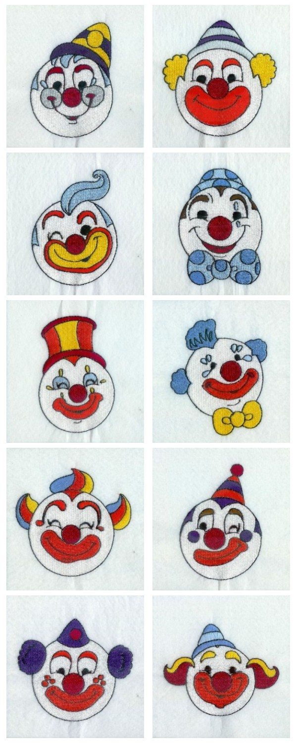 Happy Clowns Embroidery Machine Design Details