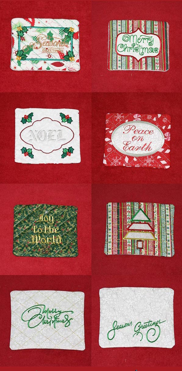 Holiday Mug Rugs Embroidery Machine Design Details