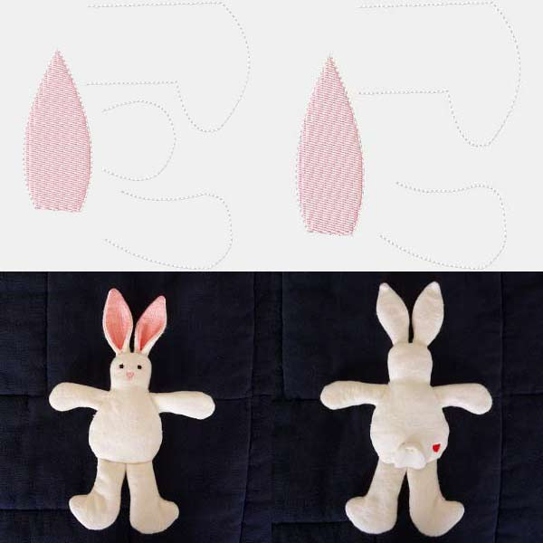 In The Hoop Bunny Toy Embroidery Machine Design Details