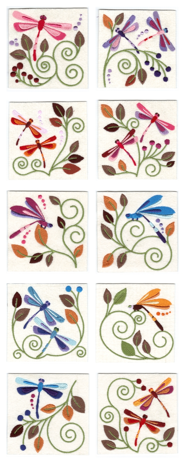 Jacobean Dragonflies Embroidery Machine Design Details