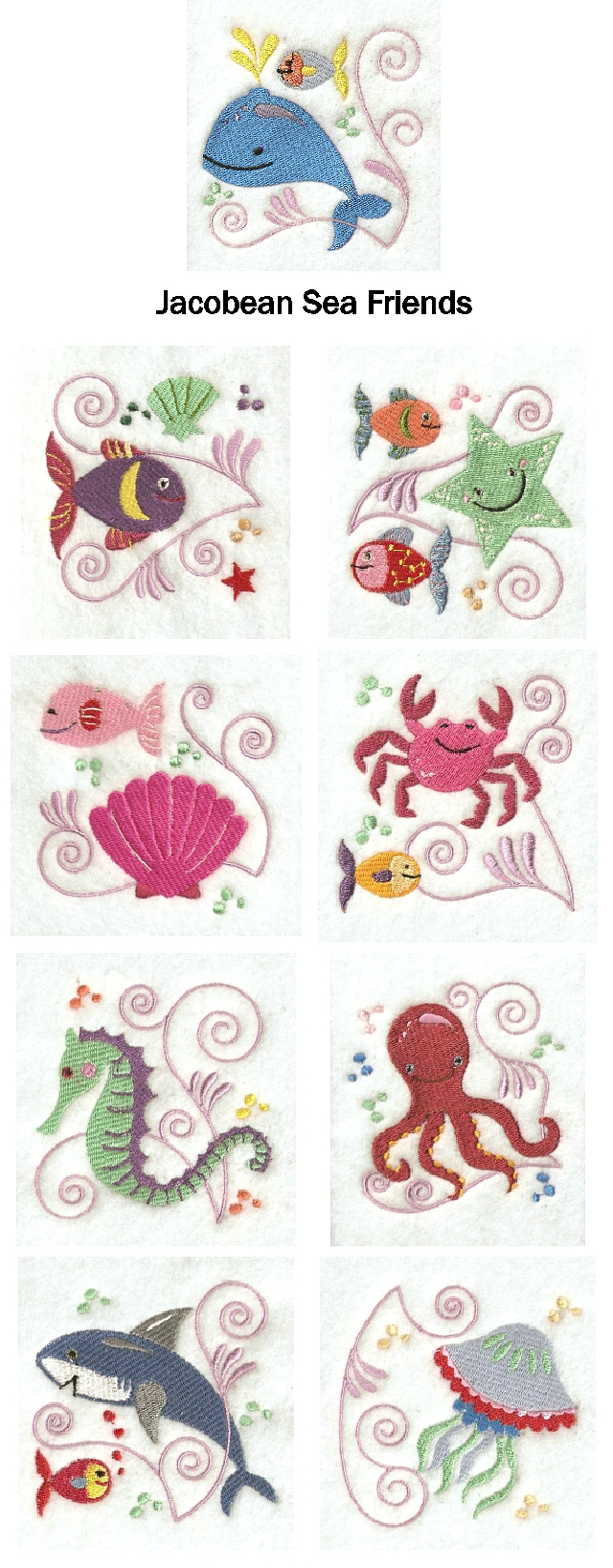 Jacobean Sea Friends Embroidery Machine Design Details
