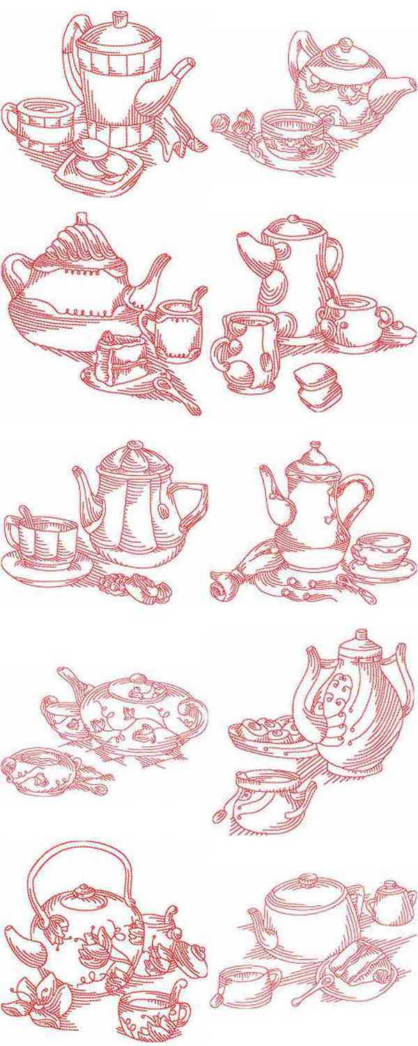 JN Tea Cups Embroidery Machine Design Details