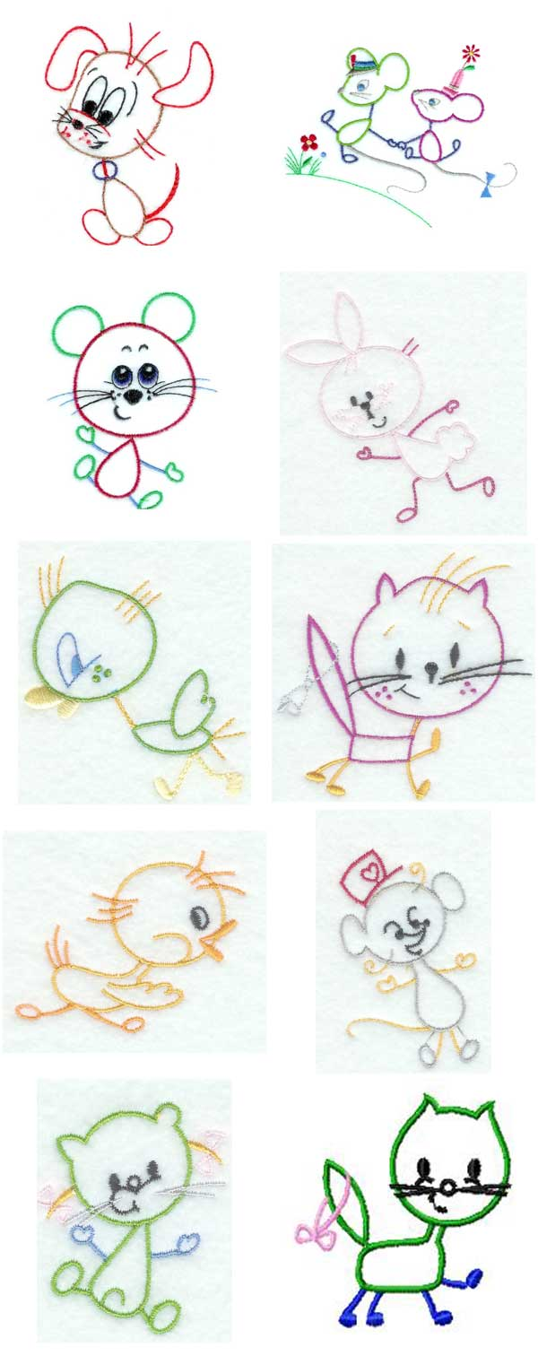 Machine Embroidery Designs  Kids Line Art Fun Set