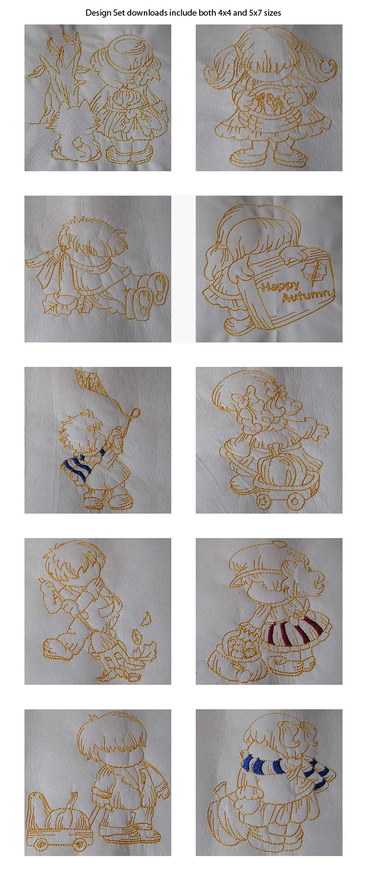 Line Art Autumn Bonnets Embroidery Machine Design Details