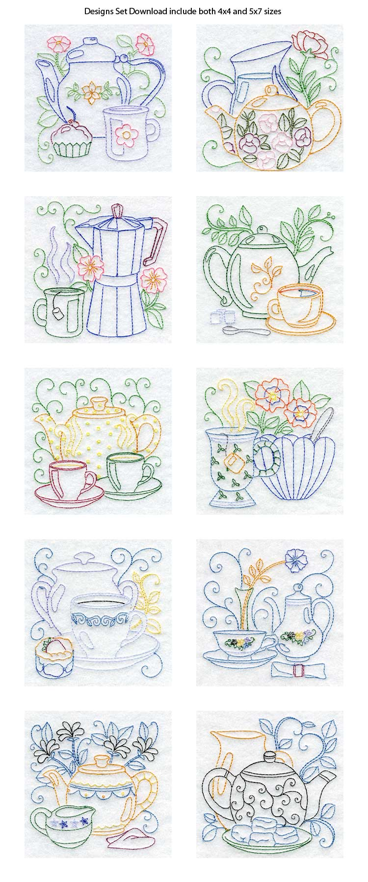 Line Drawing Embroidery : Line art tea pots machine embroidery designs ebay