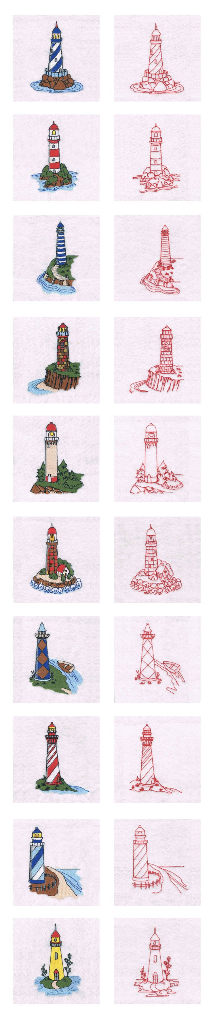 Lighthouses Embroidery Machine Design Details