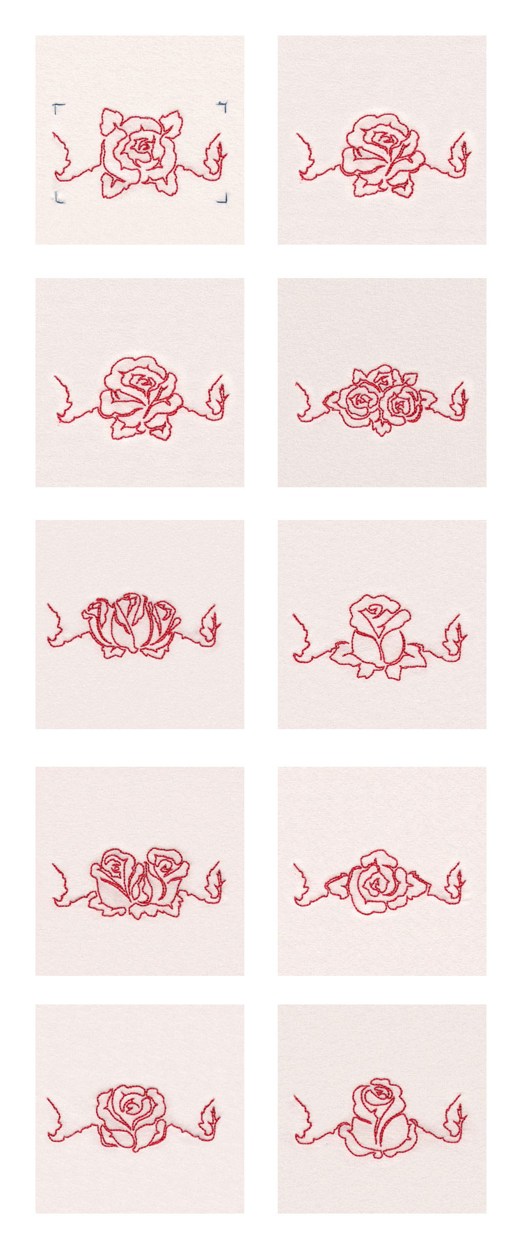 Lineart Roses Borders Embroidery Machine Design Details