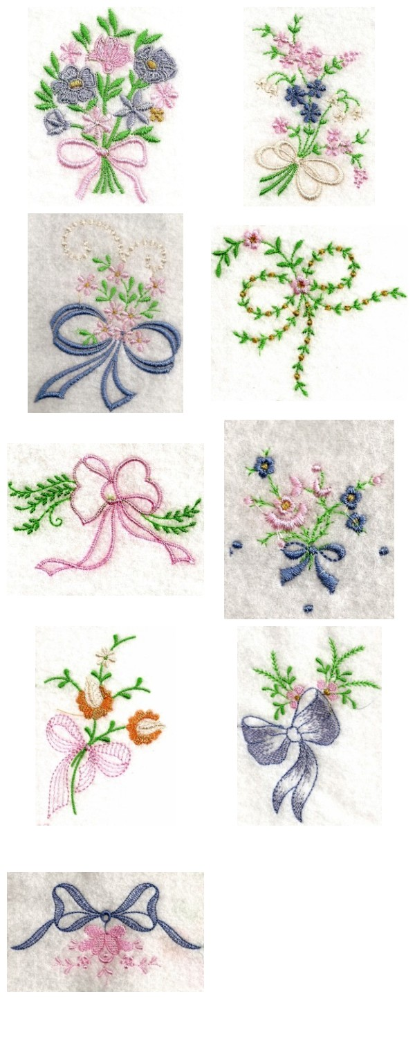 Linen Bows Embroidery Machine Design Details