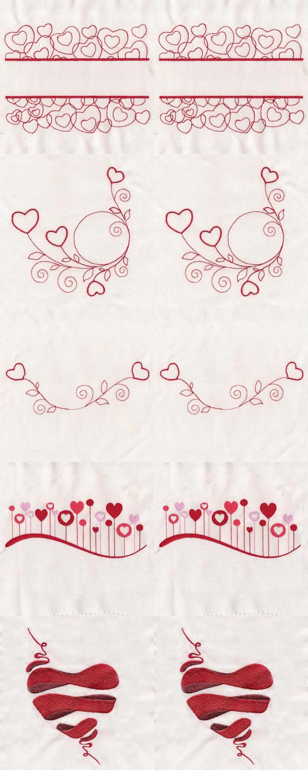 Love Hearts Embroidery Machine Design Details