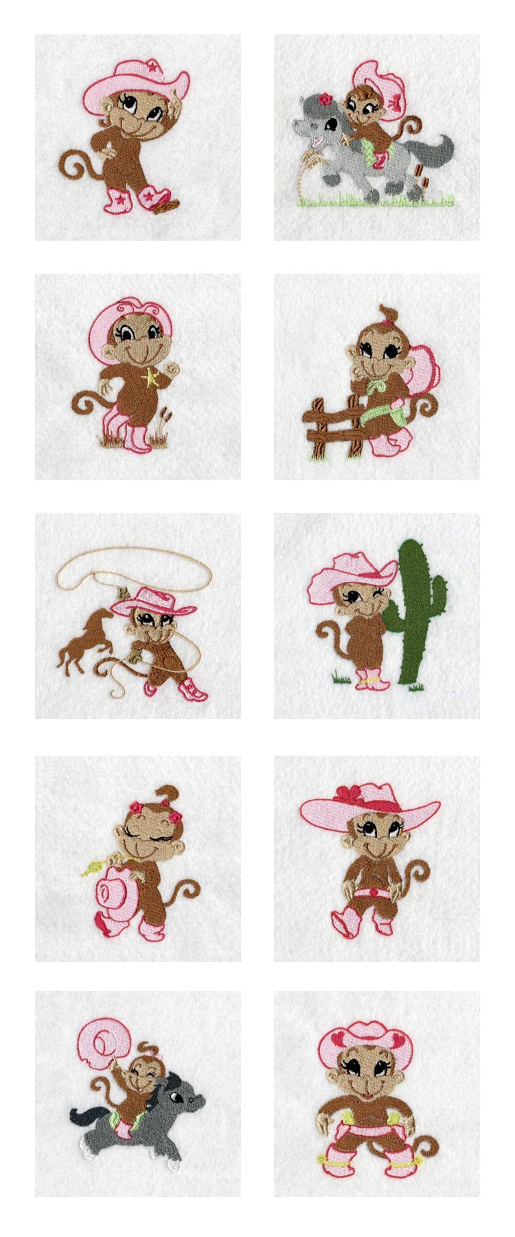 Monkey Cowgirls Embroidery Machine Design Details