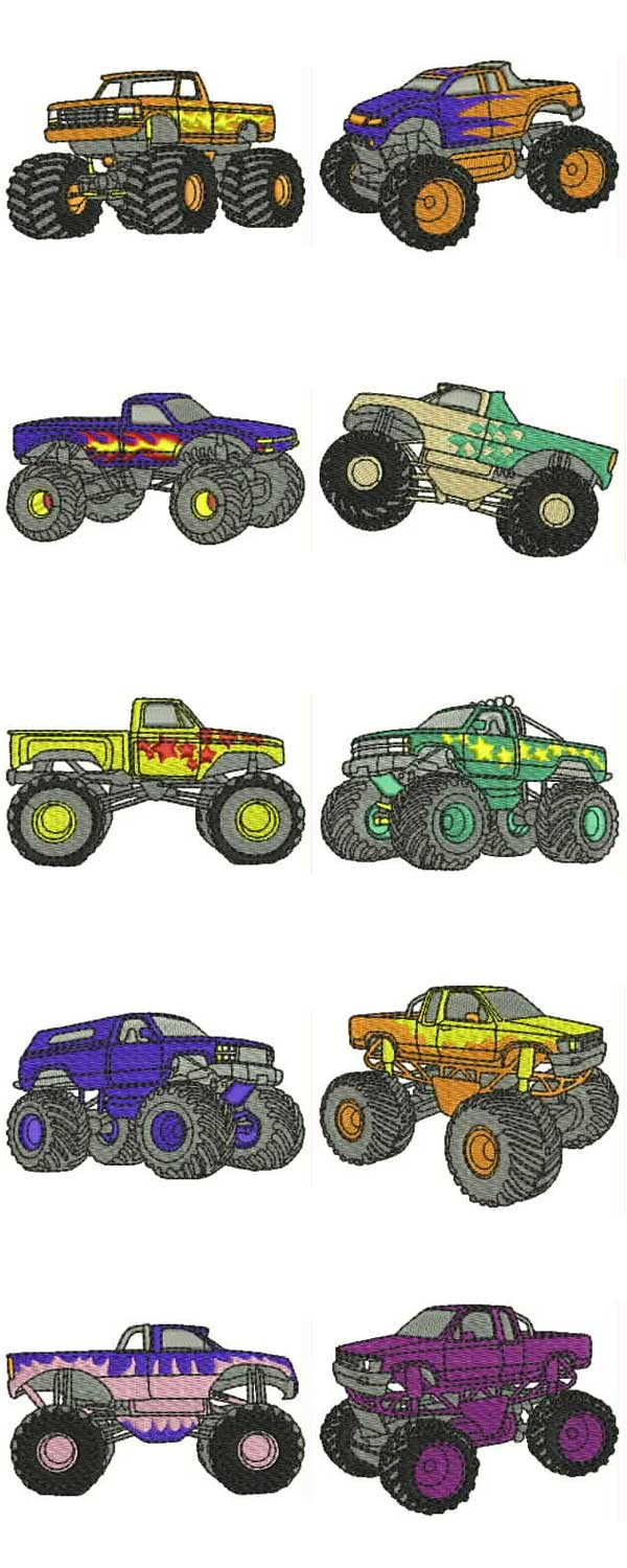 Monster Trucks Embroidery Machine Design Details