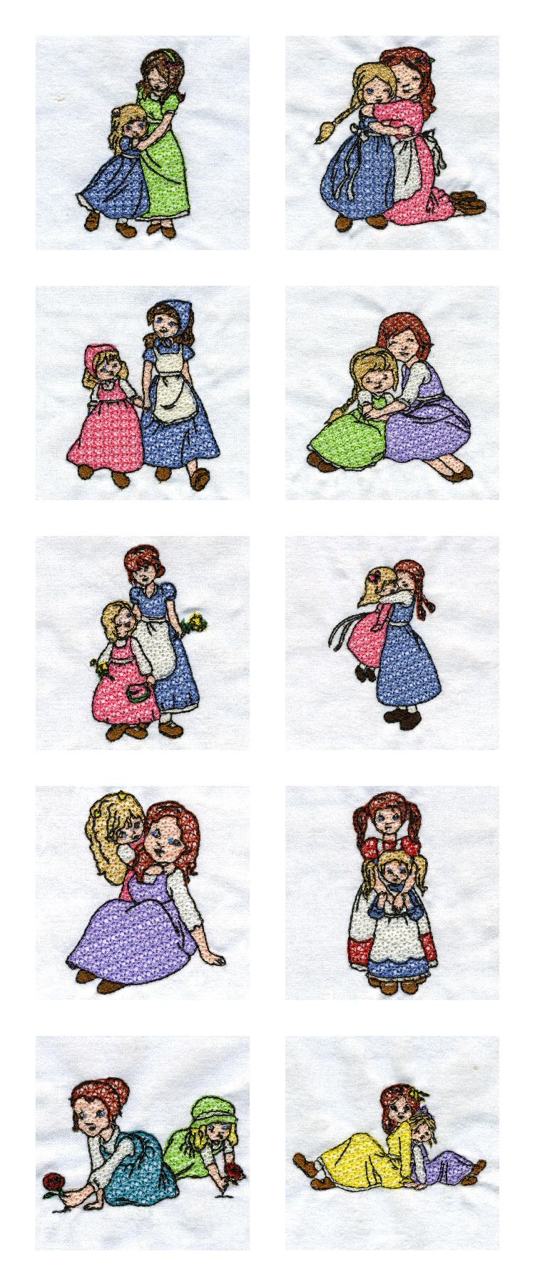 Mother and Daughter Embroidery Machine Design Details