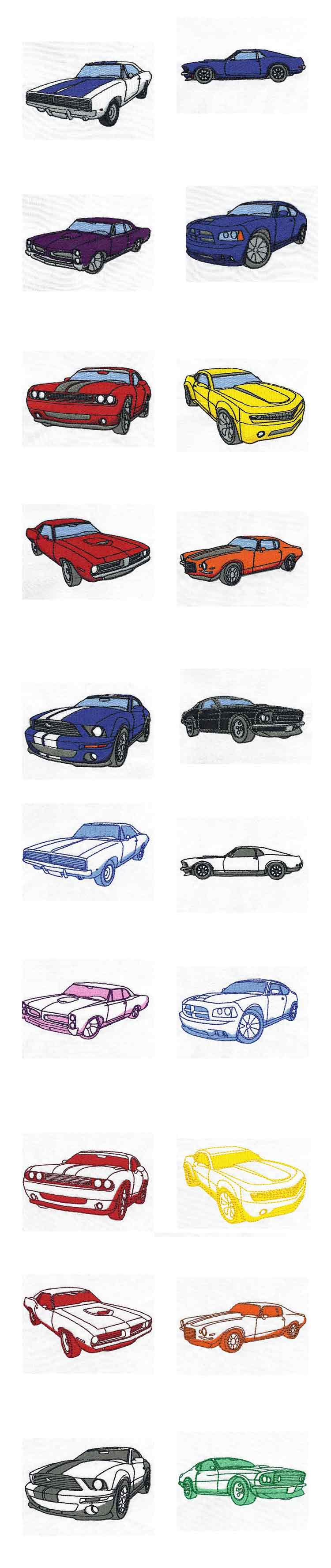 Muscle Cars Embroidery Machine Design Details