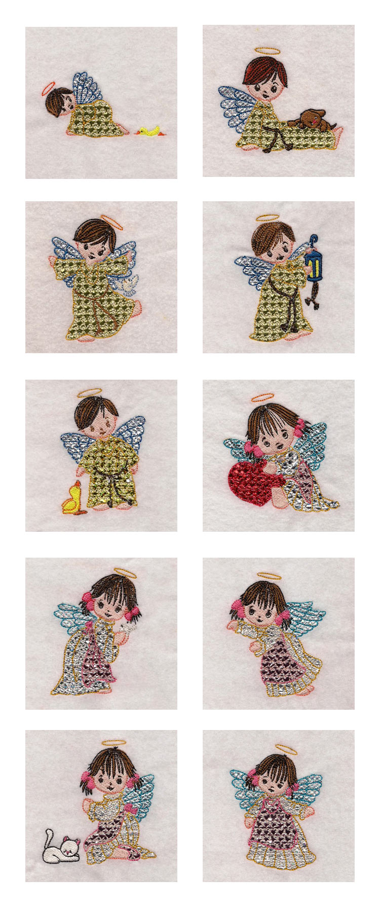 Mylar Cute Angels Embroidery Machine Design Details