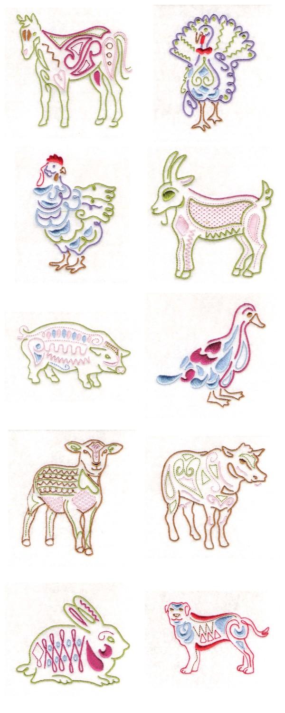 Native farm animals machine embroidery designs ebay