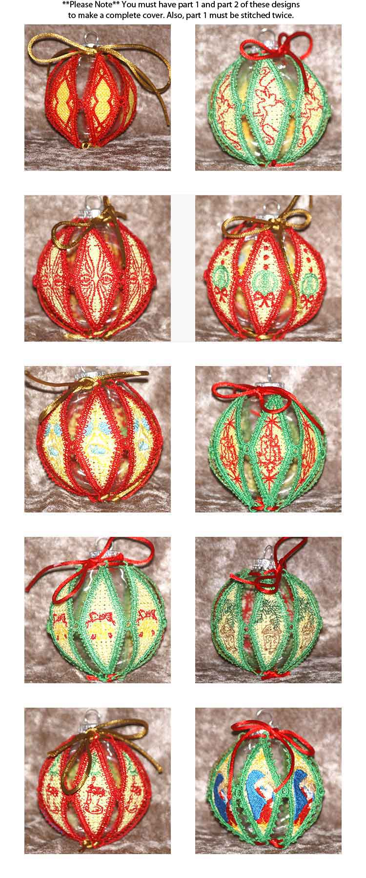 Lace Holiday Ornament Covers Embroidery Machine Design Details